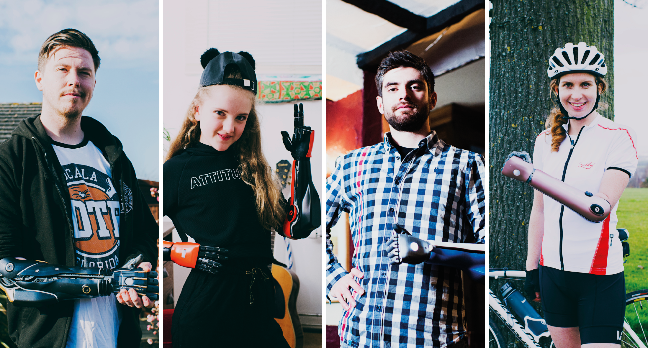 Open Bionics ambassadors - Dan, Tilly, Luke and Kate