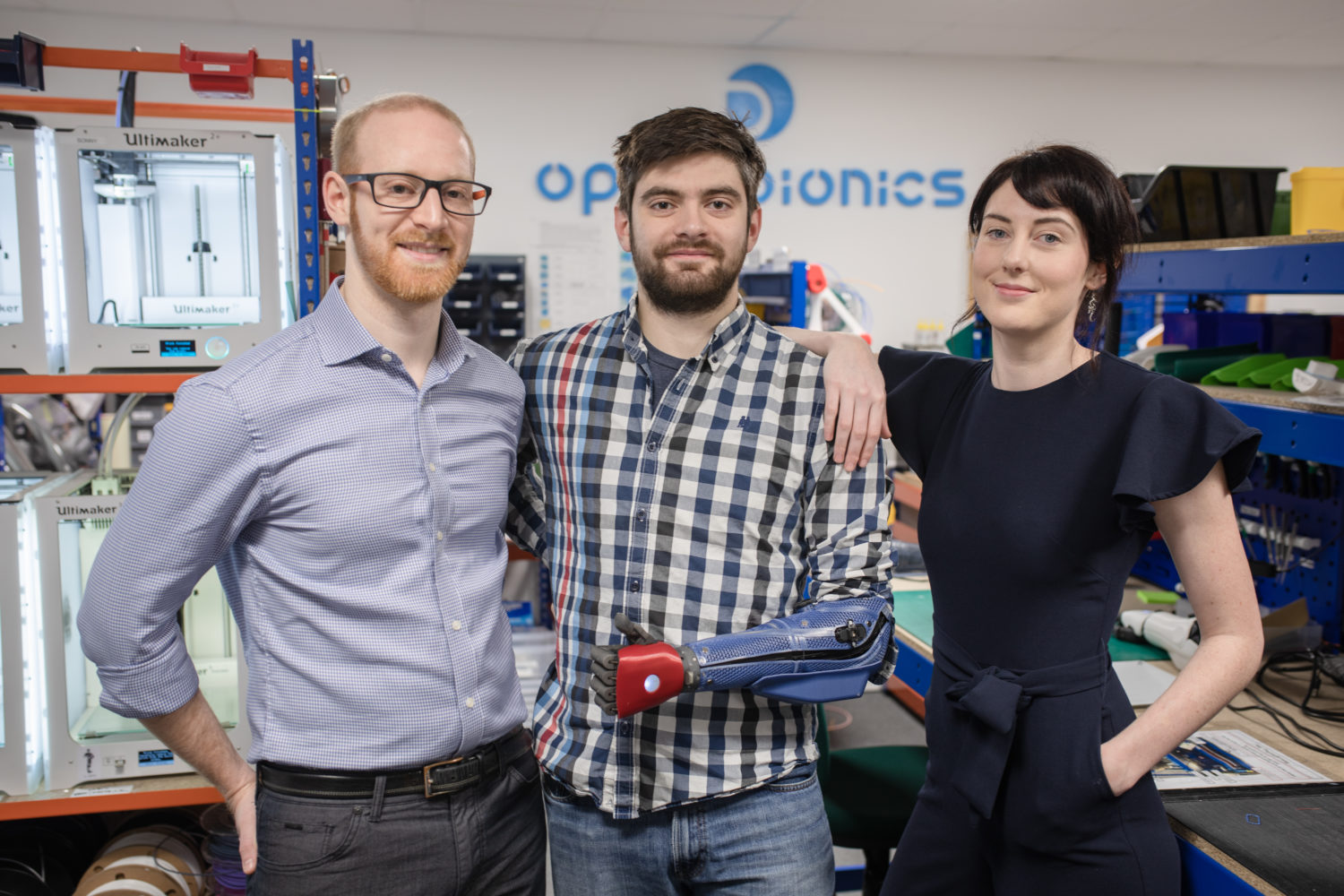 Joel Gibbard, Samantha Payne & Luke Manson at Open Bionics office